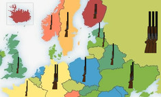 карта число единиц огнестрельного оружия 100 европе россии