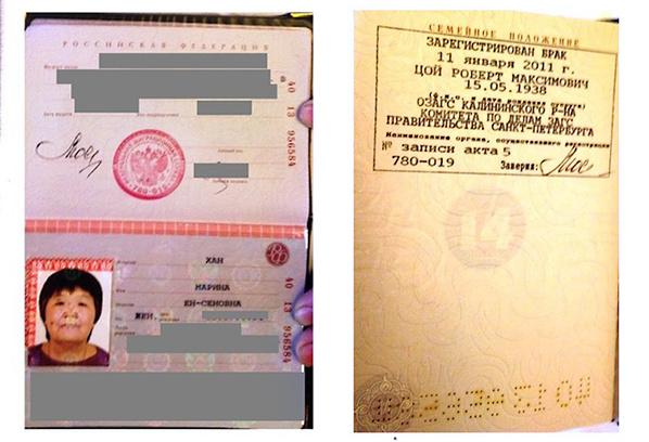 Марина Хан, жена Роберта Цоя, паспорт