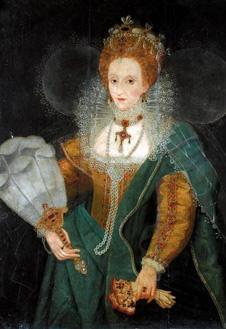 Портрет Елизаветы I с веером, 1590-е гг. Неизвестный художник.