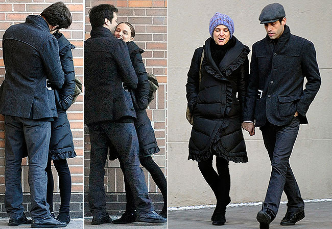 Натали и танцовщик Бенджамин Миллпид на прогулке в Нью-Йорке.
