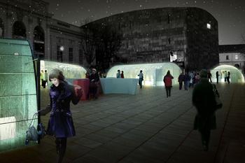 Ледовые павильоны в Музейном квартале вечером окрашиваются футуристическими огнями. Здесь начинаются вечеринки.