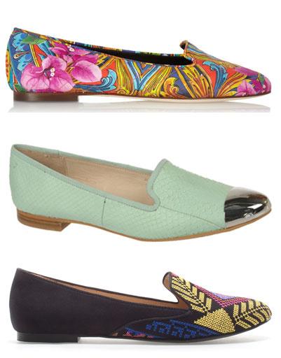 Сверху вниз: слиперы Dolce & Gabbana; слиперы Sam Edelman; слиперы Zara