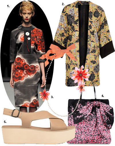 1. Prada весна-лето 2013; 2. пальто Topshop; 3. сумка Red Valentino; 4. туфли Camper