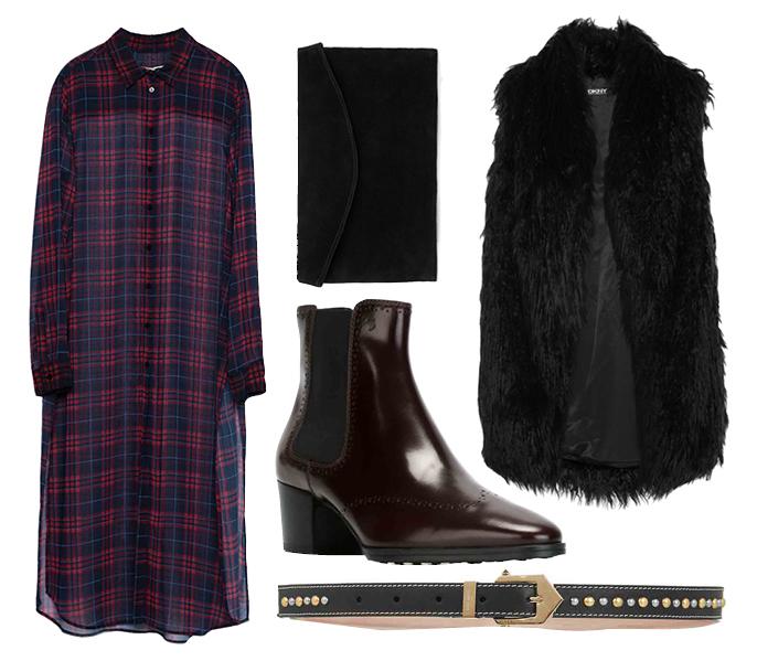 Выбор ELLE: жилет DKNY, пояс Givenchy, ботильоны Tod's, клатч Mango