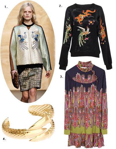 1. Proenza Schouler; 2. блуза River Island; 3. платье BGN; 4. браслет Asos