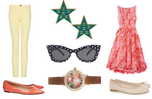 Джинсы Mango, балетки J. Crew, винтажные клипсы Chanel, очки Asos, часы River Island, платье Lela Rose, балетки Repetto