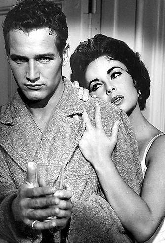 """Элизабет Тейлор (Elizabeth Taylor) и Пол Ньман ( Paul  Newman) в фильме """"Кошка на раскаленной крыше"""" (1958 г.)"""