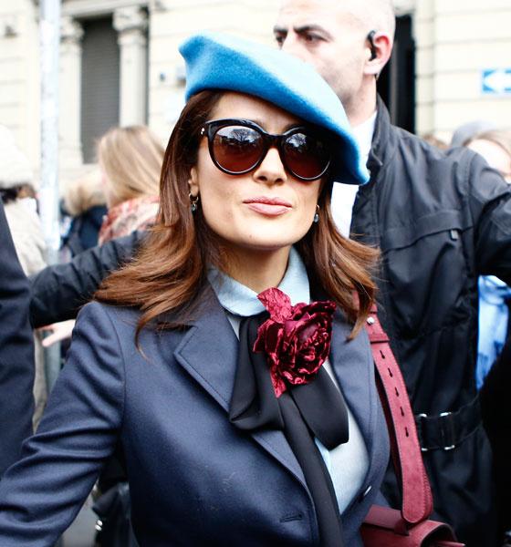 Сальма Хайек на показе Gucci в Милане