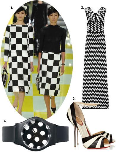 1. Louis Vuitton весна-лето 2013; 2. платье Missoni; 3. туфли Christian Louboutin; 4. часы May28th