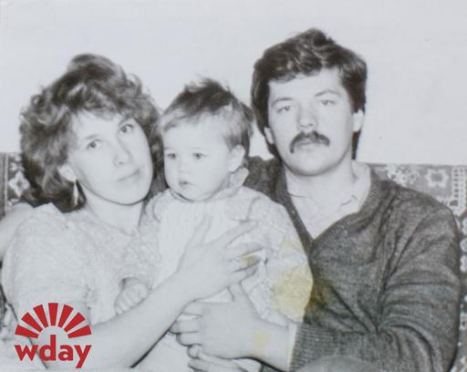 1987 год. Катя с мамой и папой
