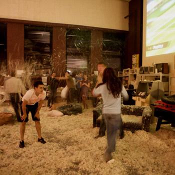 Для празднования 13-летия студии было закуплено 50 перьевых подушек.