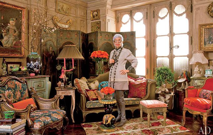 Нью-Йорк, квартира модного дизайнера Айрис Апфель (Iris Apfel), экстравагантной американки с русскими корнями.