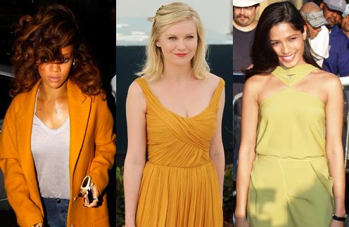 Рианне (Rihanna),Кирстен Данст (Kirsten Dunst) и Фрида Пинто (Freida Pinto) уже оценили прелесть горчичного цвета