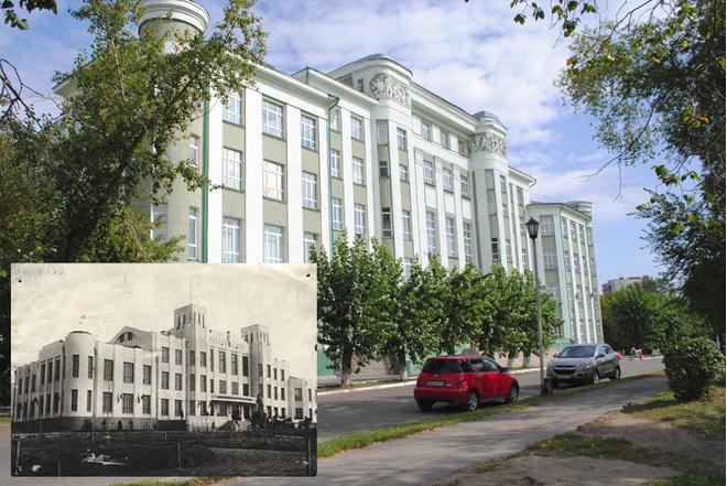 Дворец труда, в наше время – Сибирский Государственный университет водного транспорта на ул. Щетинкина, 33.