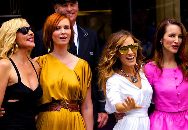 Ким Кэтролл, Синтия Никсон, Сара Джессика Паркер, Кристин Дэвис на съемках фильма «Секс в большом городе – 2».