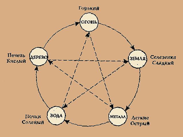 Схема взаимодействия стихий показывает отношения между ними. Стихии, соединенные сплошными стрелками питают и поддерживают друг друга. Стихии, соединенные пунктирными стрелками друг друга подавляют. Таким же считается взаимодействие соотнесенных с ними вкусов и органов.