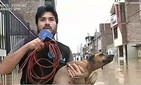 Репортер остановил прямой эфир, чтобы спасти тонущего пса