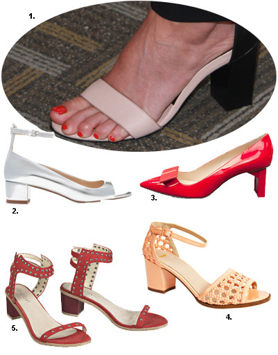 1. Кристи Тарлингтон; 2. туфли Zara; 3. туфли Carlo Pazolini; 4. туфли Asos; 5. туфли Motivi