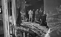 фотографии дыра небоскребе столкновения бомбардировщиком 1945