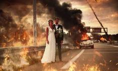 Молодожены, снявшиеся на фоне горящего автомобиля, стали героями зажигательных фотожаб