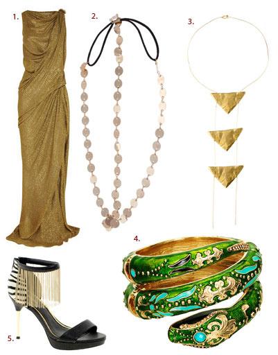 1. Платье Lanvin; 2. украшение для волос Asos; 3. подвеска Nettie Kent; 4. браслет Anna Dello Russo for H&M; 5. туфли River Island
