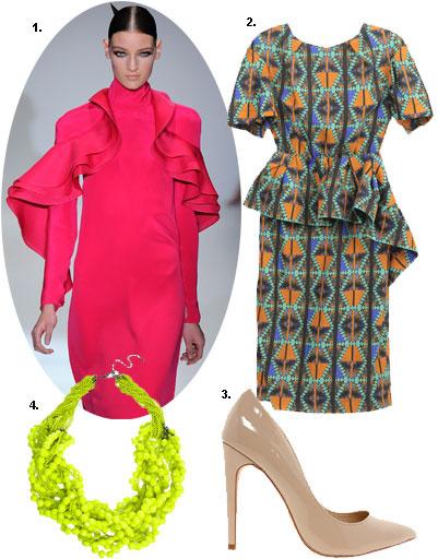 1. Gucci весна-лето 2013; 2. платье LUBLU Kira Plastinina; 3. туфли Aldo; 4. колье Pieces