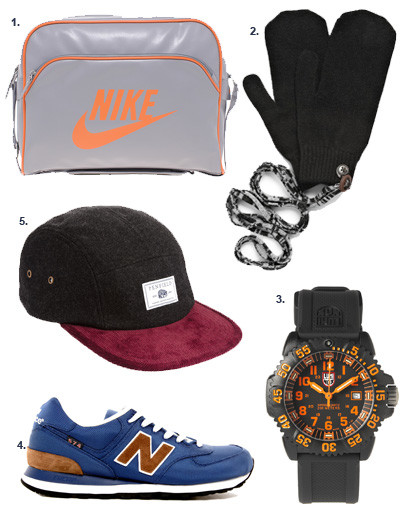 1. Сумка Nike; 2. варежки Paul Smith; 3. часы Luminox; 4. кроссовки New Balance; 5. кепка Penfield