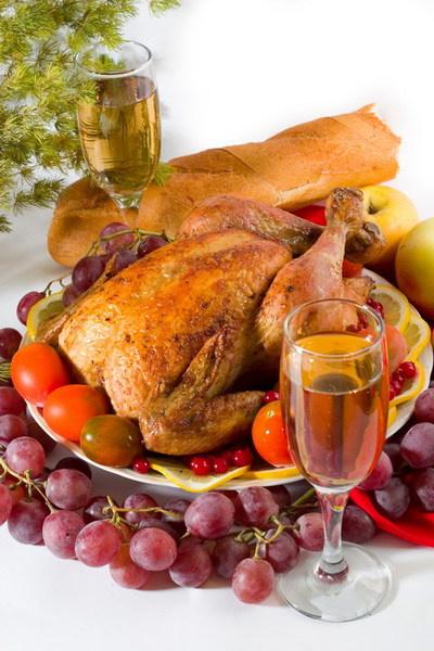 Курица, запеченная с виноградом