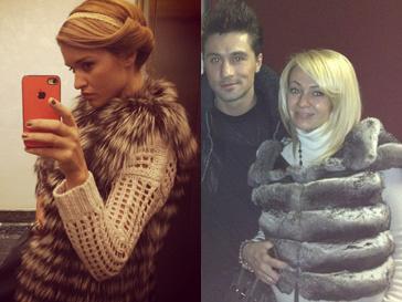Ксения Бородина и Яна Рудковская выбрали на зиму теплые меховые жилеты