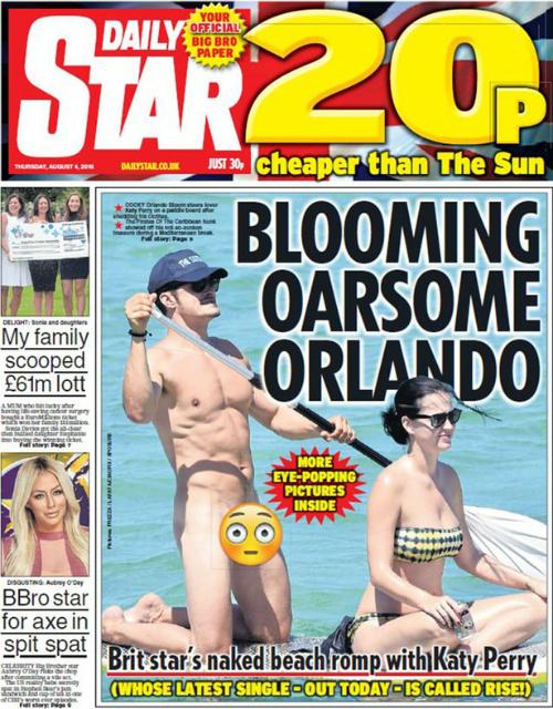 Обнаженный Орландо Блум засветил мужское преимущество впроцессе серфинга сКэти Перри