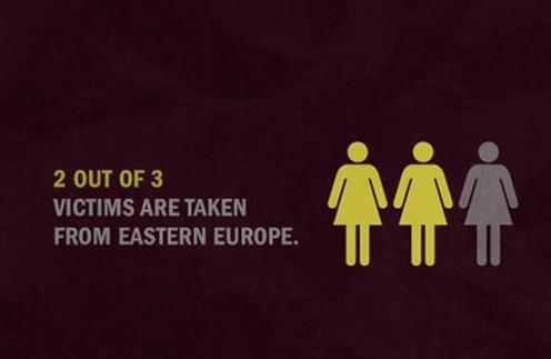 """""""Каждая вторая из трех пострадавших девушек - жительница восточной Европы"""" - гласят слоганы Фонда."""