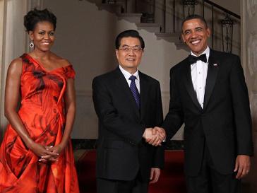 Мишель Обама (Michelle Obama), Ху Цзиньтао (Hu Jintao) и Барак Обама (Barak Obama) в Белом доме