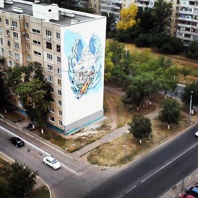Оренбург граффити на многоэтажке