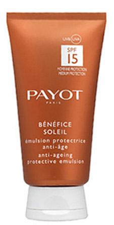 Защитная эмульсия Anti-ageing protective emulsion SPF 15 for face and body, Payot Bénéfice Solei. Защищает от вредного влияния солнца, легко наносится и обеспечивает ровный загар без пятен и разводов. Подходит для светлой чувствительной кожи.