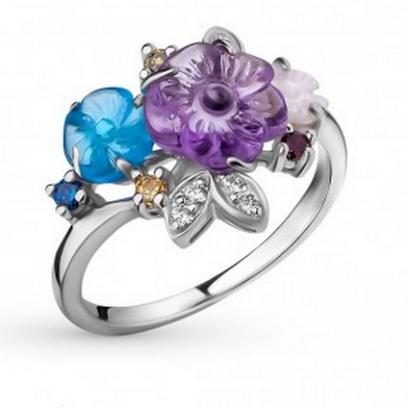 Серебряное кольцо с аметистом, топазом и фианитом. Старая цена – 6 290 руб., новая цена – 1 887 руб.