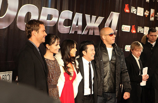 Пол Уокер, Джордана Брюстер, Мишель Родригес и Вин Дизель на сцене «Пушкинского» (23 марта, 2009)