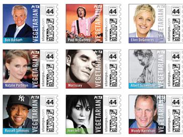 Ганди, Натали Портман, Вуди Харрельсон, Джоан Джет, Пол Маккартни -вот лишь несколько имен, которые можно прочитать на марках PETA
