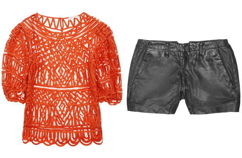 Кружевной топ Sass & bide, кожаные шорты Rag & bone