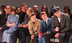 Милота дня: Дэвид Бекхэм с детьми на показе Victoria Beckham