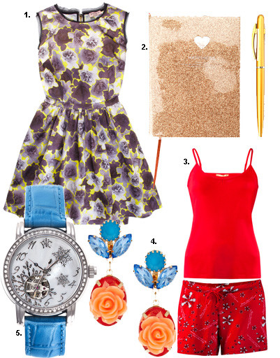 "1. Платье Juicy Couture; 2. блокнот Kira Plastinina; 3. пижама Zarina; 4. серьги Asos; 5. часы РФС ""Русская зима"""