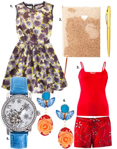 1. Платье Juicy Couture; 2. блокнот Kira Plastinina; 3. пижама Zarina; 4. серьги Asos; 5. часы РФС