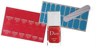 Dior Manucure Transat, 750 Captain; Maybelline New York Colorama, 13 Couture Fabrics.