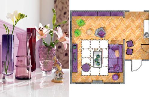 советы дизайнера, дизайн гостиной, интерьер гостиной, цветовая гамма интерьера, журнал Домой, фиолетовый цвет, фиолетовый интерьер, сиреневый интерьер, женский интерьер, гостиная фото