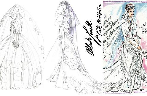 Эскизы свадебного платья Кейт Миддлтон