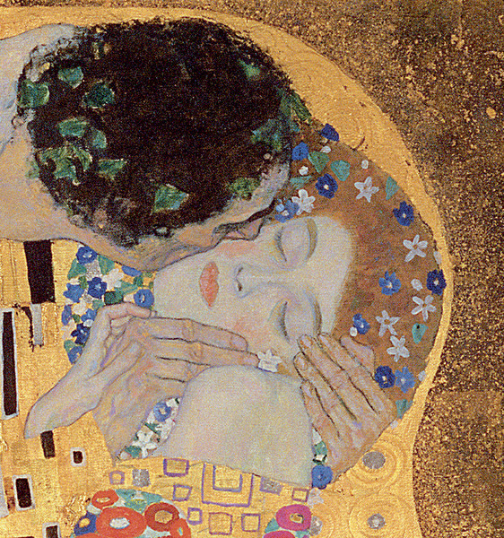 Густав Климт. «Поцелуй» (фрагмент), 1907–1908 годы.