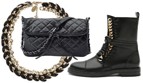 Колье, Elisabetta Franchi, 15 600 руб.; сумка, Marc Cain, 10 320 руб.; ботинки, Casadei, 67 000 руб.