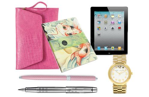 Серебристая ручка Parker, розовая ручка Tiffany, чехол для ноутбука Asos, блокнот Moleskine, планшетный компьютер iPad, часы Marc by Marc Jacobs