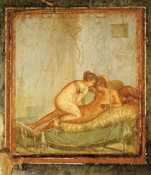 Фрески с откровенными сюжетами украшали стены Публичного дома в Помпеях.