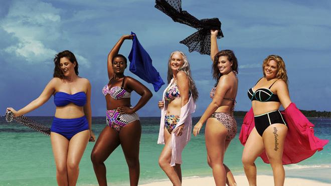 Модели размера плюс в рекламе бикини Swimsuitsforall