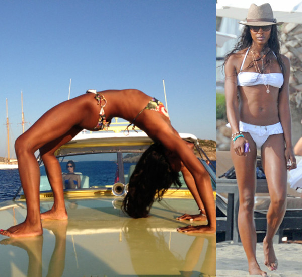 Наоми Кэмпбелл на яхте во время занятий йогой и на пляже в Испании.